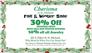 fall winter sale 30 off charisma in st michaels - Michaels After Christmas Sale