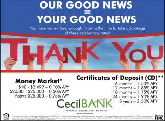 Thank You Cecil Bank