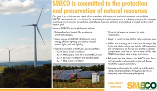 SMECO is Committed to the Protection and Preservation of Natural Resources