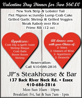 Valentine Day Dinner for Two $60.00