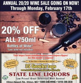 20% OFF All 750ml Bottles of Wine