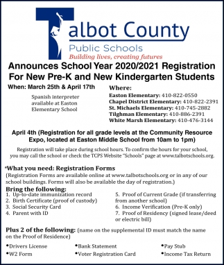 School Year 2020/2021 Registration