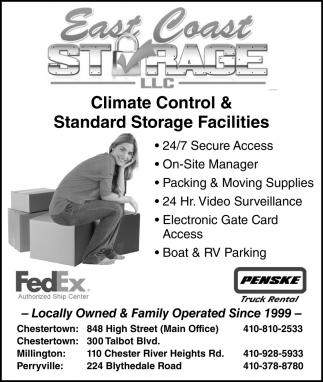 Climate Control & Standard Storage Facilities