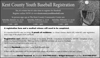 Kent County Youth Baseball Registration