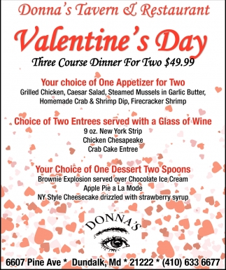 Valentines Day Donnas Tavern Restaurant