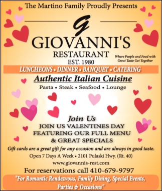 Authentic Italian Cuisine Giovannis Restaurant