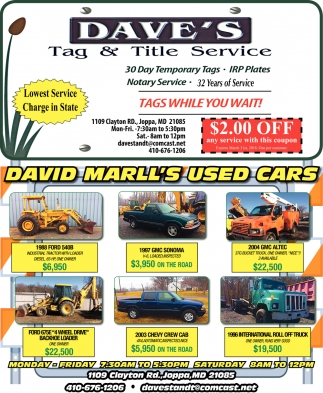 Marllss Used Cars Daves Tag Title Service - Dave's cool cars