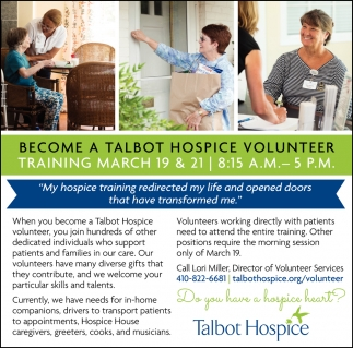 Become a Talbot Hospice volunteer