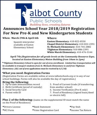 School Year 2018/2019 Registration