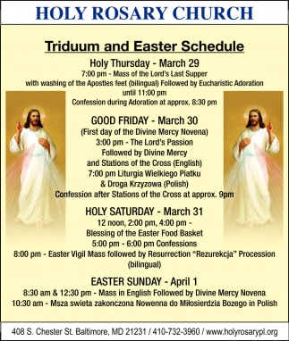 Triduum and Easter Schedule