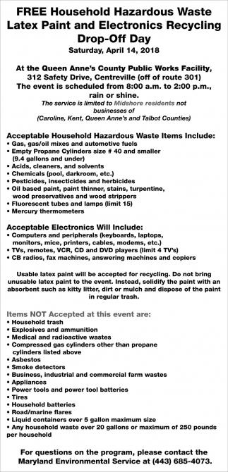 FREE Household Haardous Waste