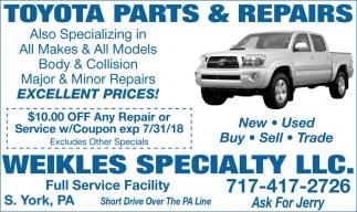 Toyota parts & repairs