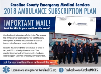 2018 Ambulance Subscription Plan