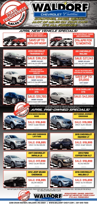 New Vehicle Specials!, Waldorf Chevrolet Cadillac, Waldorf, MD
