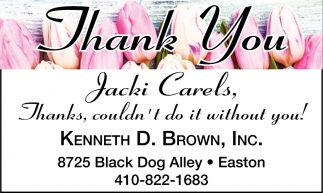 Thank You Jacki Carels
