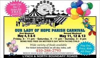 Mother's Day May 13, Our Lady Of Hope Parish Carnival