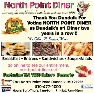 Thank you Dundalk for Voting North Point Dinner