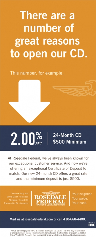 There Are A Number Of Great Reasons To Open Our Cd Rosedale Federal