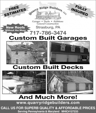 Custom Built Garages, Custom Built Decks and Much More!