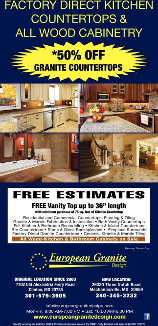 *50% OFF Granite Countertops, European Granite, Clinton, MD