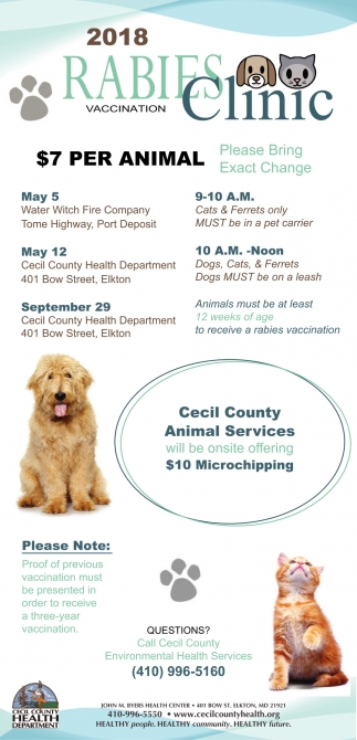 Rabies Vaccination Clinic, Cecil County Health Department ...