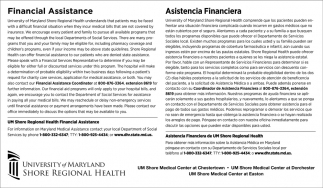 Financial Assistance, University Of Maryland Shore Regional Health