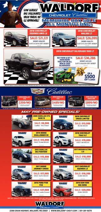 Memorial Day Sale All Month Long!, Waldorf Chevrolet Cadillac ...