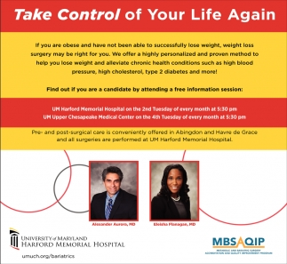 Take Control Of Your Life Again Um Harford Memorial Hospital Havre