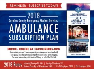 2018 Ambulance Subscription Plan