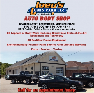 Auto Body Shop Joey S Used Cars Llc Chestertown Md