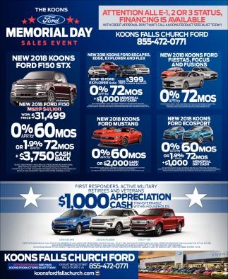 Memorial Day Sales Event Koon Falls Church Ford Falls Church Va