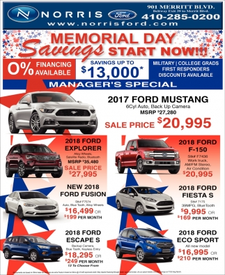 Memorial Day Savings Start Now!!!