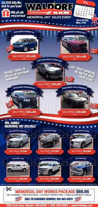Memorial Day Sales Event, Waldorf Dodge, Waldorf, MD