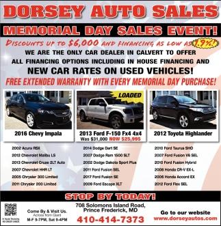 Memorial Day Car Sales 2017 >> Memorial Day Sales Event Dorsey Auto Sales Prince Frederick Md