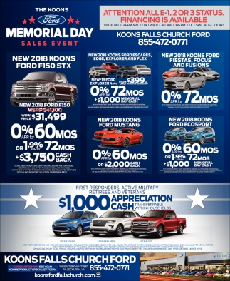 memorial day sales event koons falls church ford falls church va. Black Bedroom Furniture Sets. Home Design Ideas