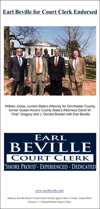 Earl Beville for Court Clerk Endorsed, Earl Beville , Stevensville, MD