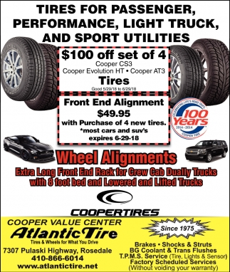 Tires for Passenger, PErformance, Light Truck, and Sport Utilities