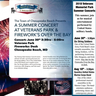 Ads For Summer Concert At Veterans Park Fireworks Town Of Chesapeake Beach In Md