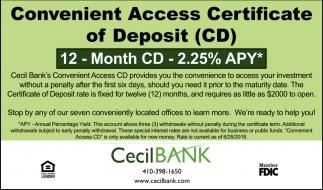 Convenient Access Certificate of Deposit (CD)