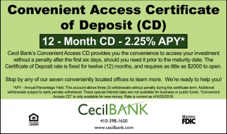 Convenient Access Certificate Of Deposit Cd Cecil Bank Elkton Md