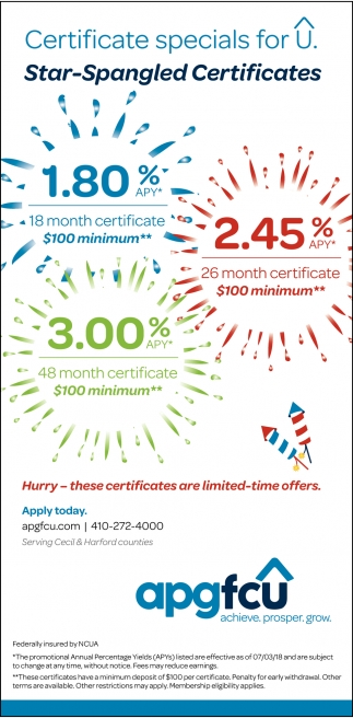 Certificate Specials for U. Star-Spangled Certificates