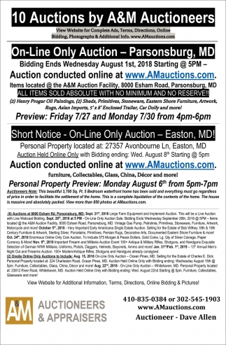10 Auctions By A&M Auctioneers