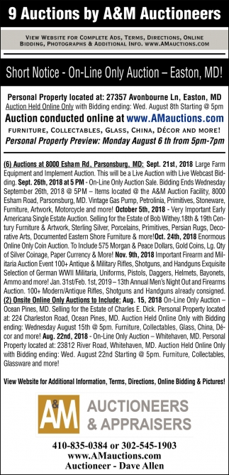9 Auctions By A&M Auctioneers