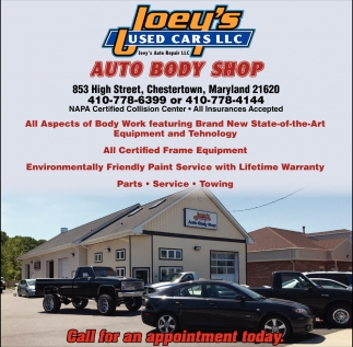 Auto Body Shop, Joey's Used Cars LLC, Chestertown, MD