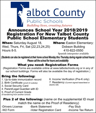 Announces School Year 2018/2019 Registration for New Talbot County Public School Elementary Students