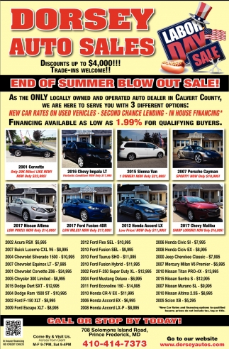 Prince Auto Sales >> End Of Summer Blow Out Sale Dorsey Auto Sales Prince