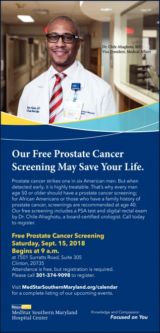 Our Free Prostate Cancer Screening May Save Your Life