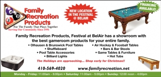 New Location Sale Family Recreation Products Bel Air MD - Pool table stores in maryland