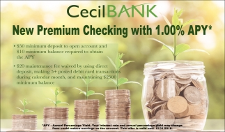 New Premium Checking With 1.00% APY*