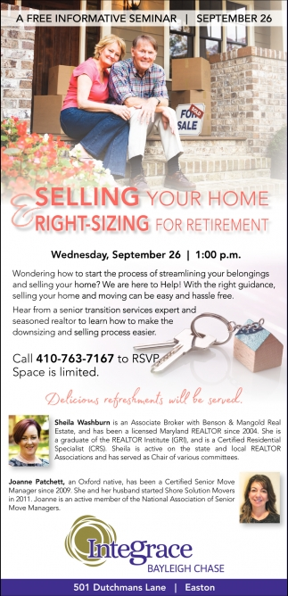 Selling your Home Right-Sizing for Retirement